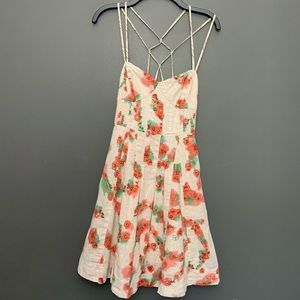 Free People Pink and Green Spaghetti Strap Dress
